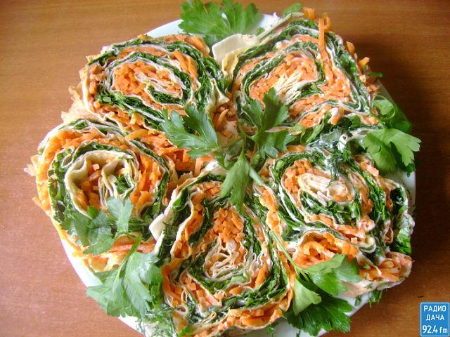 Закуска из лаваша с корейской морковкой рецепты с пошагово